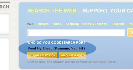 Navigating the GoodSearch page